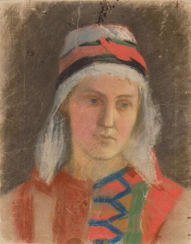 Jozef Hanula - Podobizeň ženy v kroji z okolia Troch Sliačov