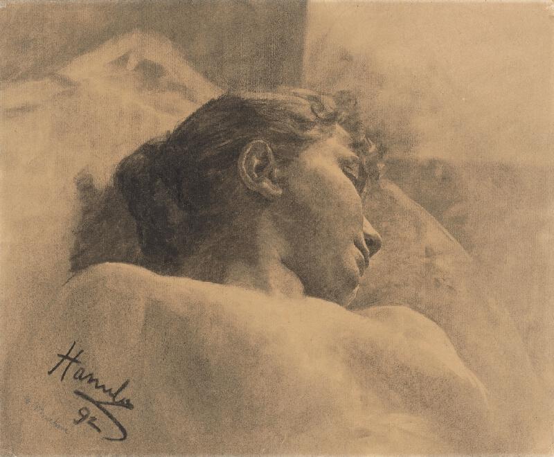 Jozef Hanula - Štúdia hlavy ležiacej ženy