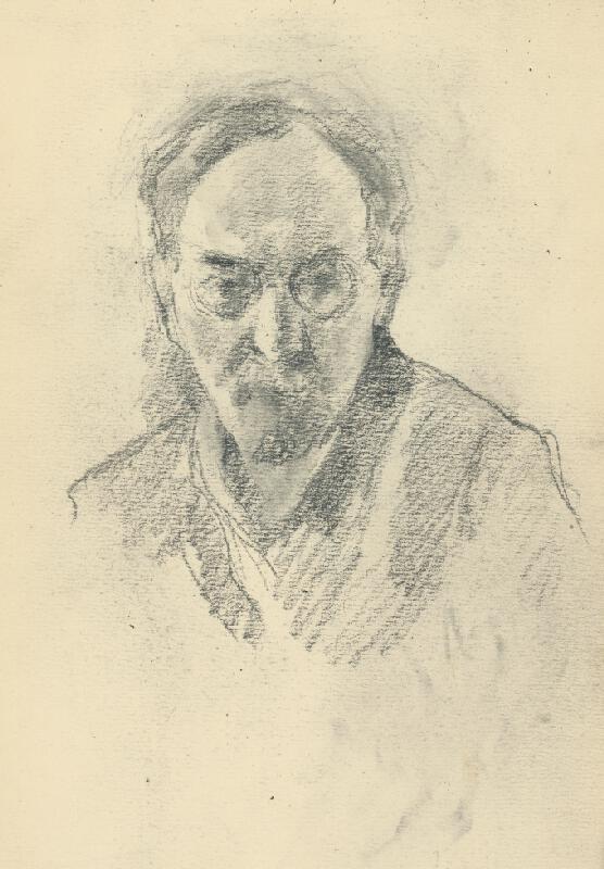 Andor Borúth - Štúdia hlavy muža v okuliaroch