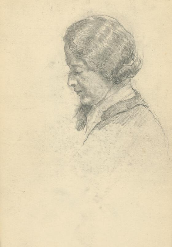 Andor Borúth - Štúdia sklonenej ženskej hlavy v profile