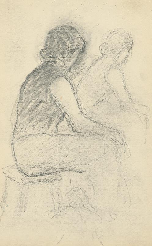 Andor Borúth - Štúdia dvoch sediacich žien