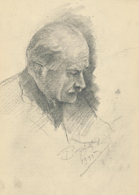 Andor Borúth - Štúdia hlavy muža v profile
