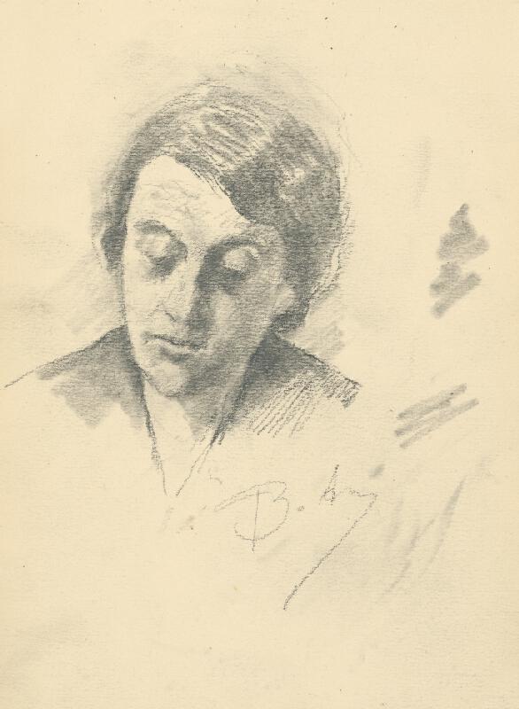 Andor Borúth - Štúdia sklonenej hlavy ženy