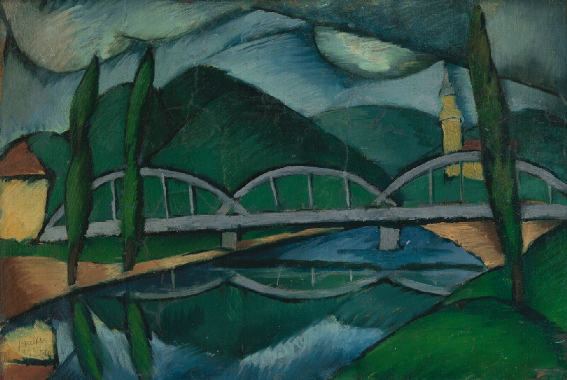 Gejza Schiller – Krajina s mostom, 1922, Východoslovenská galéria