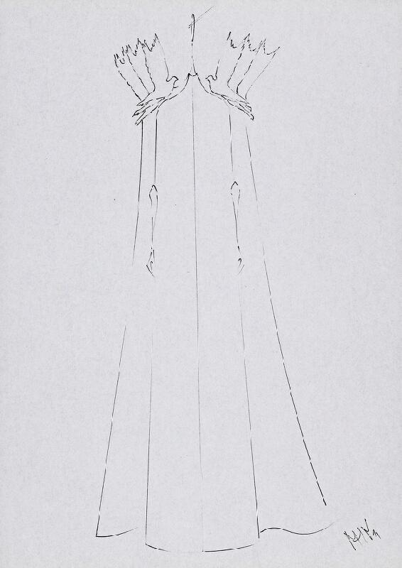 Marcel Holubec W. – 801212. Večerné šaty s plášťom