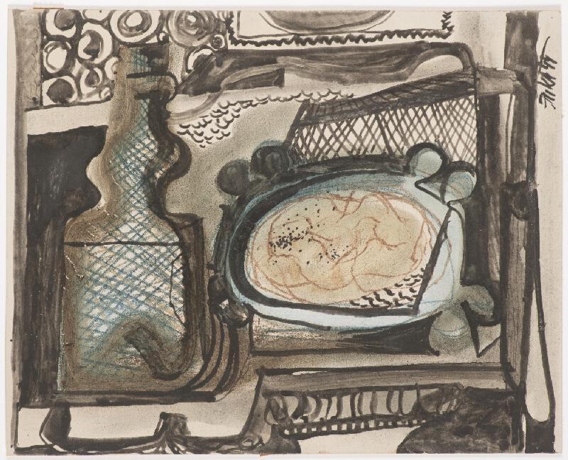 Vladimír Fuka - Zátiší s talířem a lahví