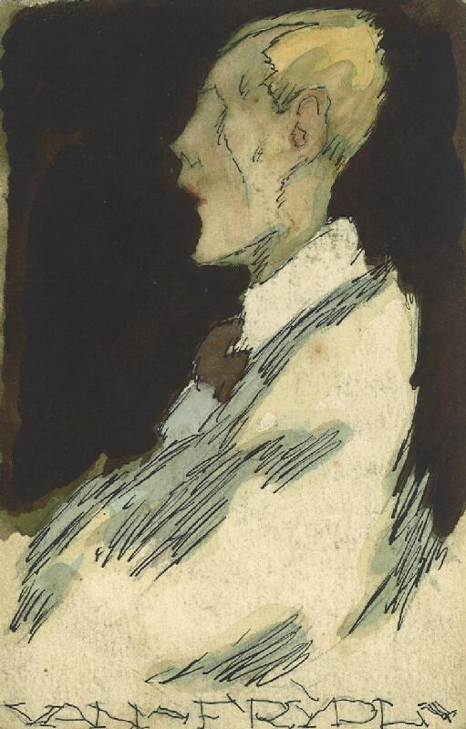 František Tichý - Karikatura malíře Antonína Frýdla
