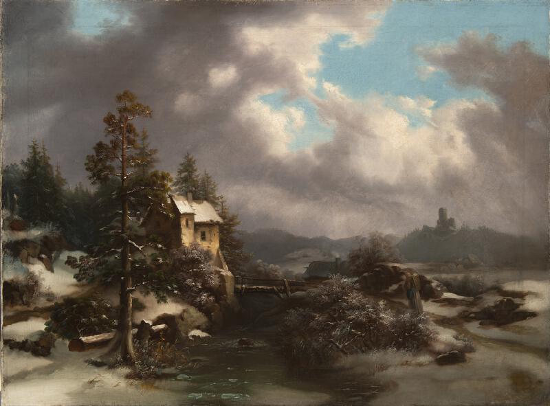 Neznámý německý mistr 19.století - Zimní krajina s hradem