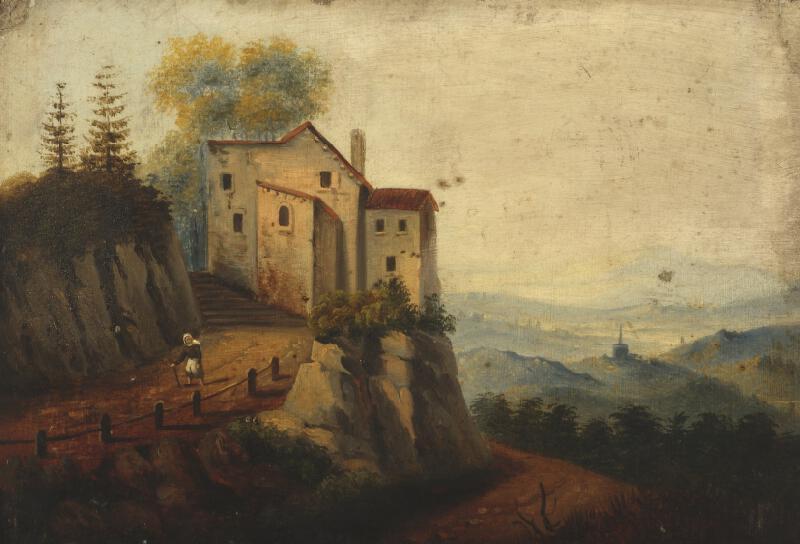 Neznámý malíř - Krajina se zámkem